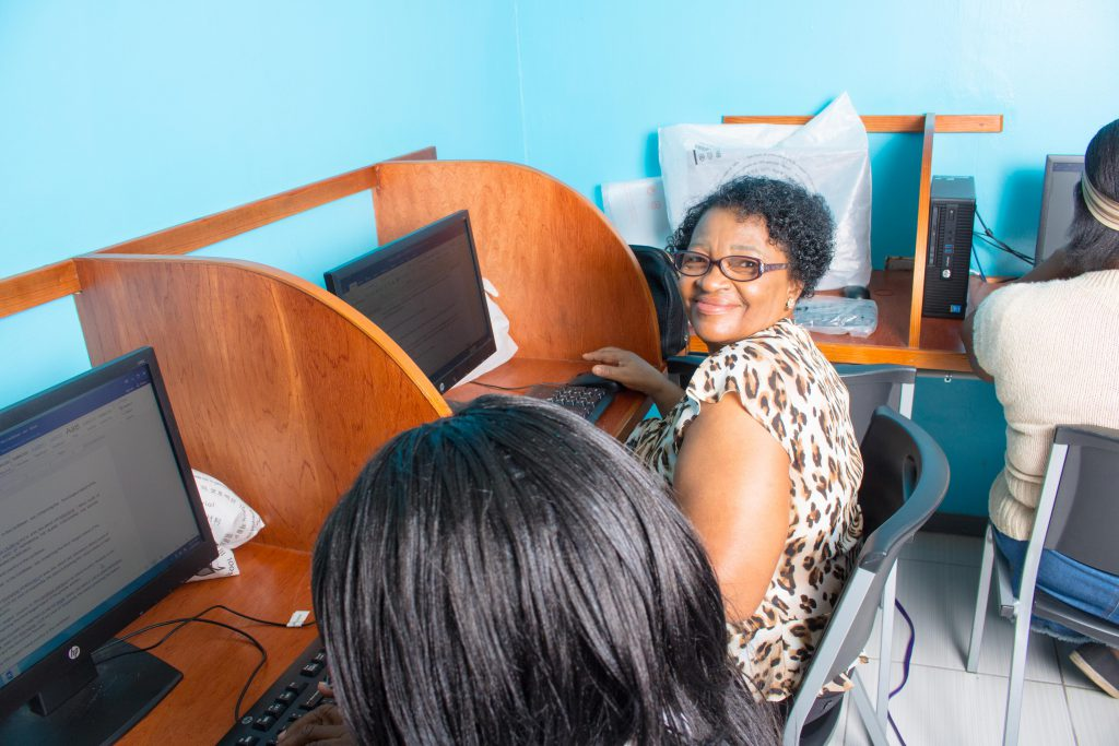 Seniors accessing the computer room at the NCSC Head Office in Kingston
